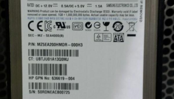 636458-002 SC SATA MLC SFF 2.5in 200GB 3G